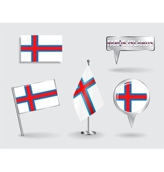 Set of Faroe Islands pin icon and map pointer vector