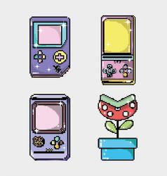 set of retro videogames console vector image