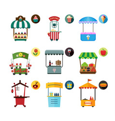 set of stylized of promo stands and various vector image