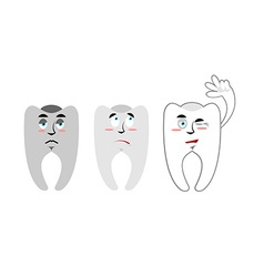 Set of teeth Teeth with emotions Rotten black vector