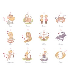 Set of very cute zodiac signs vector