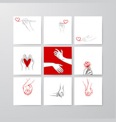 set postcard templates drawn sketch vector image