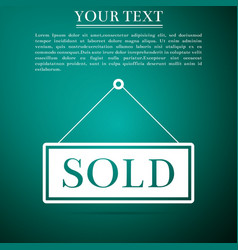 Sold sign on green background sold sticker vector