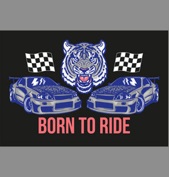 Sport cars with tiger print vector