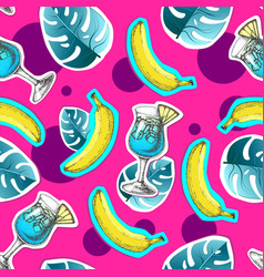Summer seamless bright pattern with banana vector