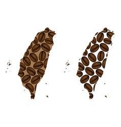 Taiwan - map of coffee bean vector