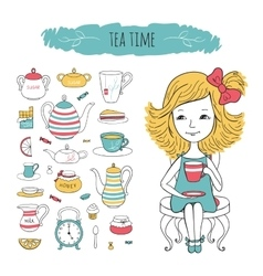 Tea collection and girl on chair vector image