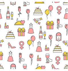 thin line art women day seamless pattern vector image