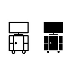 tv stand line and glyph icon stand with tv vector image