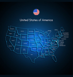 united states of america map usa techno vector image