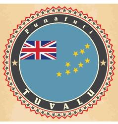 Vintage label cards of Tuvalu flag vector image