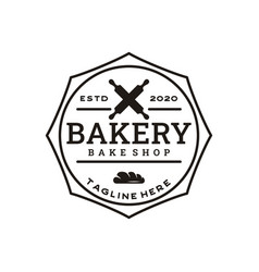 vintage retro bakery bake shop stamp badge logo vector image
