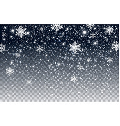 winter falling snow isolated on transparent vector image
