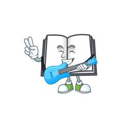 With guitar cartoon open book with cartoon shape vector