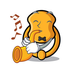 With trumpet elegant fashion door knocker mascot vector