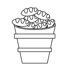Wooden bucket bread religion symbol outline vector