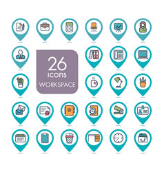 Workspace outline web pin map icon set vector