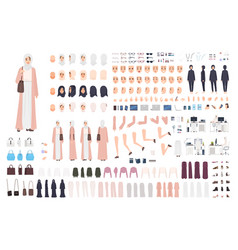 Young arab business woman constructor set vector