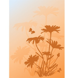 background with silhouettes of daisies vector image vector image