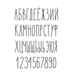Doodle russian cyrillic narrow alphabet vector image vector image