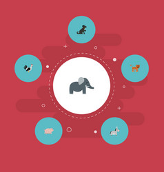 Flat icons hound jackass rooster and other vector