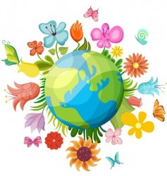 flowering planet vector image vector image