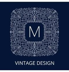 Luxury Vintage Blue Frame for Monogram vector image vector image