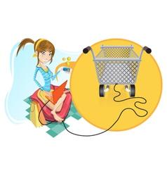 online shopping girl vector image vector image