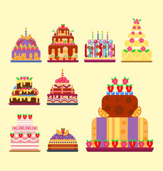 wedding cake pie hand drawn style sweets dessert vector image vector image