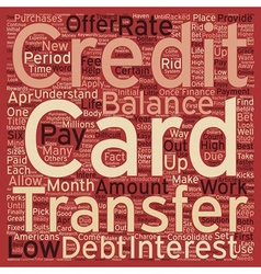 Balance Transfer Credit Cards A Way To Consolidate vector image