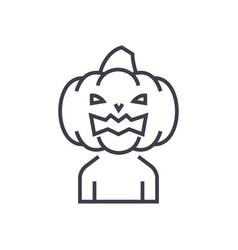 horror pumpkin line icon sig vector image