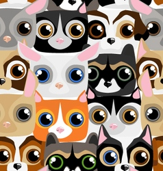 Seamless pattern with little cute and funny pets vector image