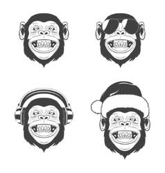 Set of monkey heads vector image
