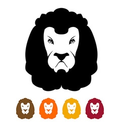 Lion head silhouette Predator Much to mane vector image vector image