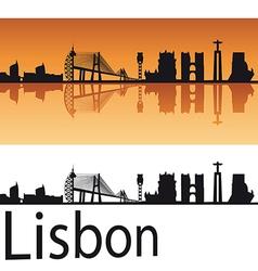 Lisbon skyline in orange background vector image