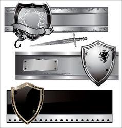 shield banner set vector image vector image