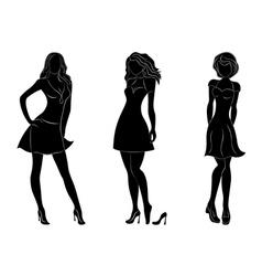 Three beautiful slim women silhouettes vector image