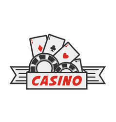 casino logo with cards and chips vector image vector image