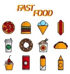 Fast food flat icon set vector image