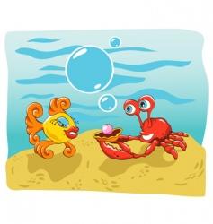 fish and crab vector image vector image