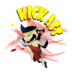 fun cartoon thai boxer kicking vector image