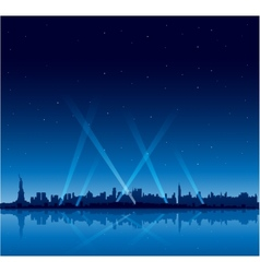 New York city at night copyspace background vector image vector image