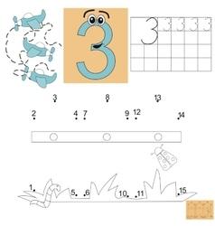 Task for children in mathematics figure three vector