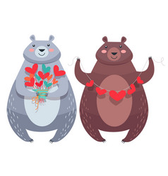 valentine bears with necklace of hearts flowers vector image