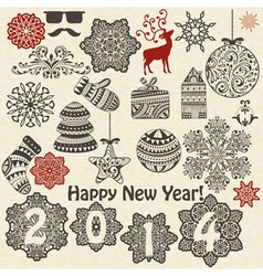 vintage holiday design elements and snowflakes vector image