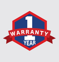 1 year warranty label with ribbon logo vector