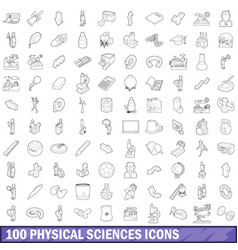 100 physical sciences icons set outline style vector image