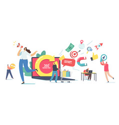 360 degree marketing concept tiny male and female vector
