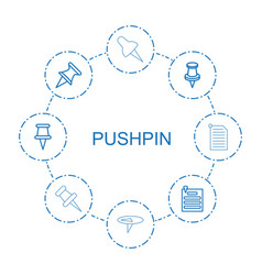 8 pushpin icons vector