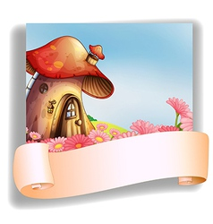 A mushroom house with a signage vector image